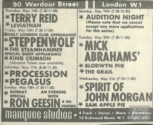 King Crimson May 16, 1969 at the Marquee Club
